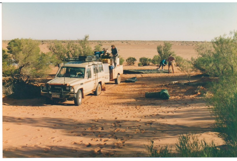 Setting up camp next to our vehicle