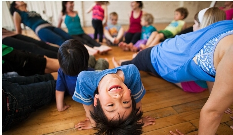 family yoga kid smile